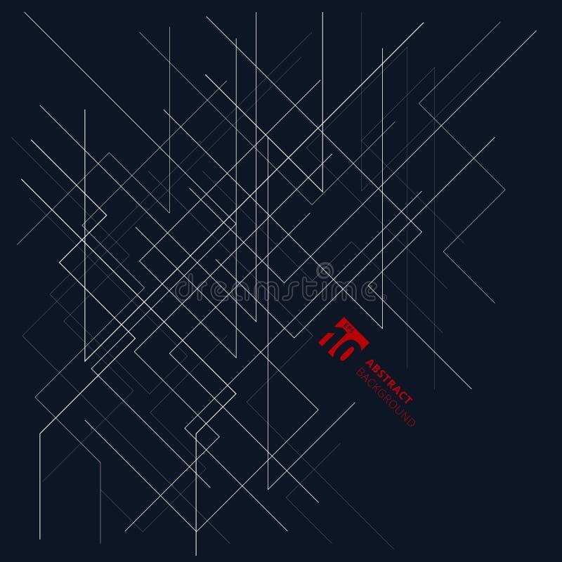Αφηρημένη διαστατική δομή γραμμών αρχιτεκτονικής στο σκούρο μπλε β ελεύθερη απεικόνιση δικαιώματος