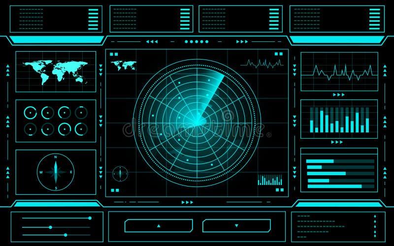Αφηρημένη διεπαφή τεχνολογίας πινάκων ελέγχου ραντάρ hud στο μαύρο υπόβαθρο διανυσματική απεικόνιση