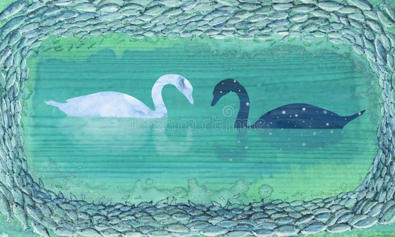 Αφηρημένη εικόνα με συρμένους τους χέρι κύκνους και τα ψάρια διανυσματική απεικόνιση