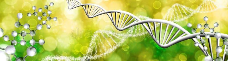 αφηρημένη εικόνα της κινηματογράφησης σε πρώτο πλάνο αλυσίδων DNA στοκ εικόνες