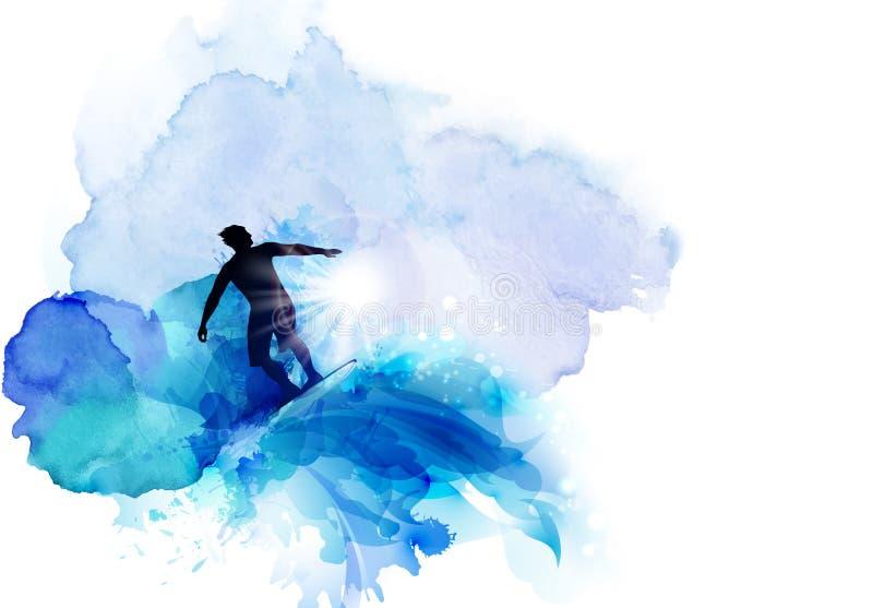 Αφηρημένη εικόνα της μετακίνησης, της ταχύτητας και του κύματος Μαύρη σκιαγραφία του surfer στο μπλε υπόβαθρο λεκέδων watercolor διανυσματική απεικόνιση