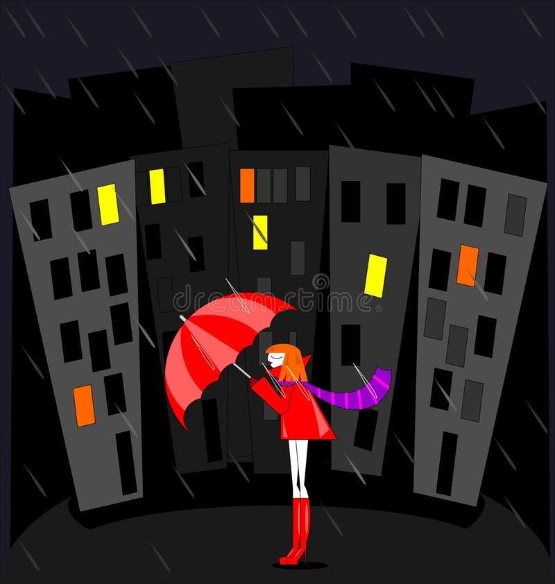 Αφηρημένη εικόνα χρώματος της πόλης νύχτας, της βροχής και του κόκκινου κοριτσιού ελεύθερη απεικόνιση δικαιώματος