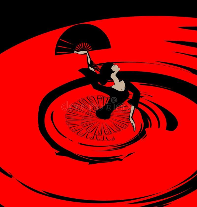 Αφηρημένη εικόνα flamenco με τον ανεμιστήρα ελεύθερη απεικόνιση δικαιώματος