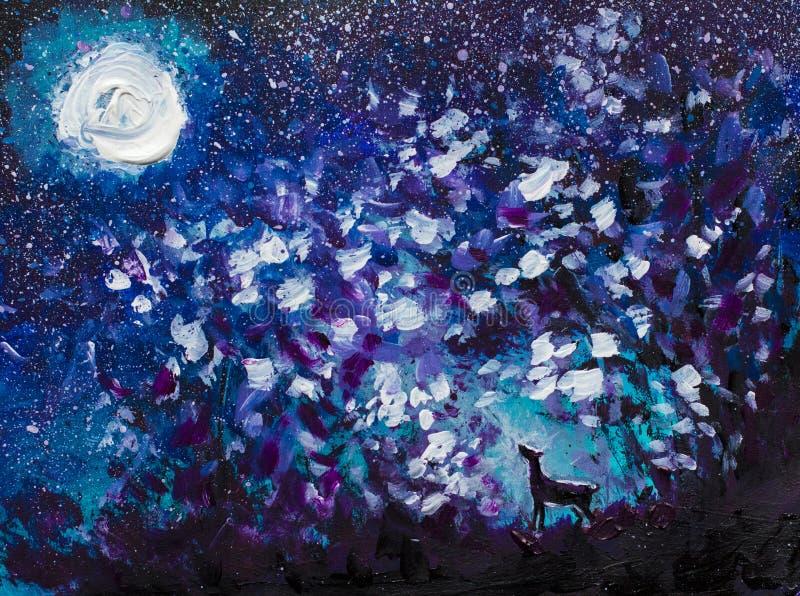 Αφηρημένη ελαιογραφία νύχτας, ένας μαύρος λύκος που ουρλιάζει στο φεγγάρι, ένα μεγάλο καμμένος φεγγάρι, ένας έναστρος μπλε ουρανό διανυσματική απεικόνιση
