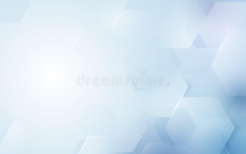 Αφηρημένη εξαγωνική μορφή επανάληψης στο μπλε και άσπρο υπόβαθρο ελεύθερη απεικόνιση δικαιώματος