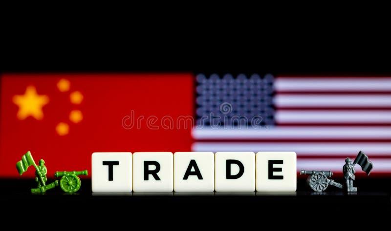 Αφηρημένη επεξηγηματική έννοια των δασμολογίων και των εμπορικών πολέμων μεταξύ των ΗΠΑ και της Κίνας στοκ εικόνα