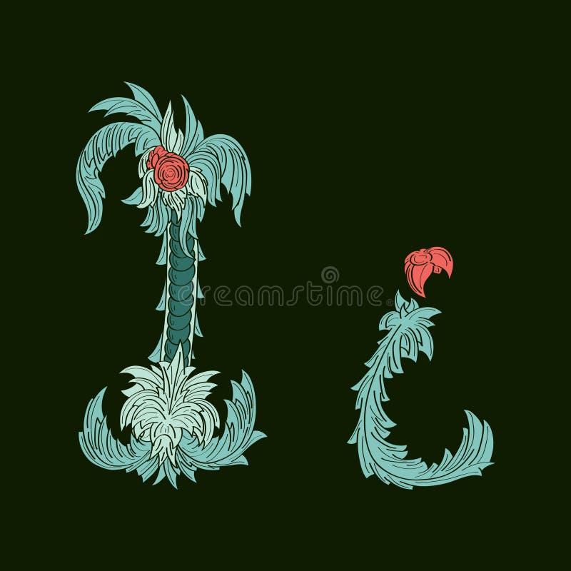 Αφηρημένη επιστολή Ι εικονίδιο λογότυπων στο μπλε τροπικό ύφος απεικόνιση αποθεμάτων
