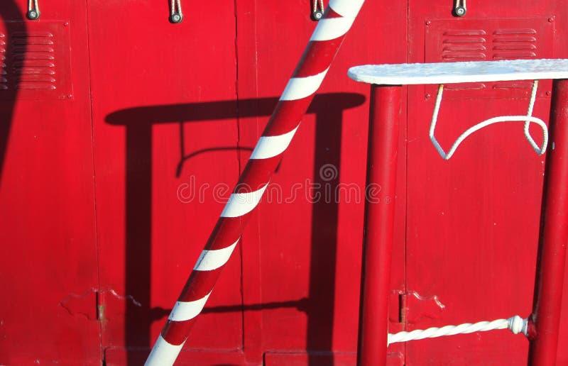 Αφηρημένη λεπτομέρεια του κόκκινου narrowboat στοκ φωτογραφία