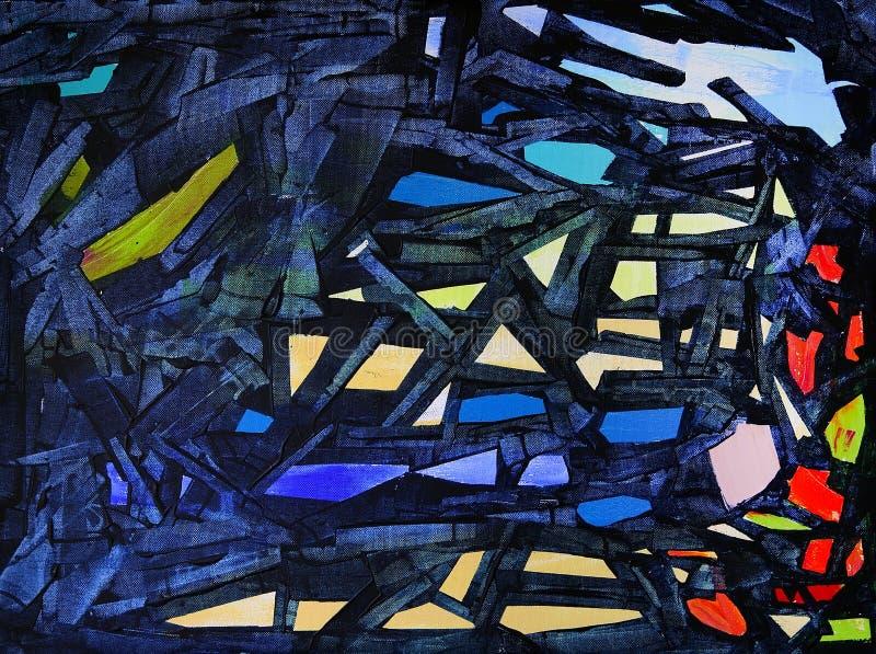 Αφηρημένη ζωγραφική ονομασμένη διαφυγή ο μπλε-διευθυνμένος Αιγόκερος από τους λαβύρινθους του σκοταδιού απεικόνιση αποθεμάτων