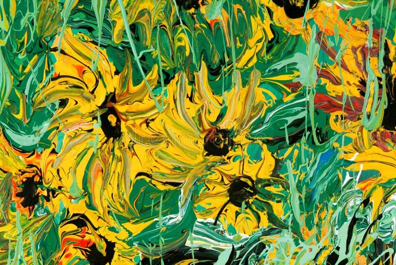 Αφηρημένη ζωγραφική λουλουδιών για το υπόβαθρο στοκ εικόνες