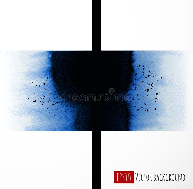 Αφηρημένη ζωγραφική πλυσίματος μπλε μελανιού στο άσπρο υπόβαθρο Παραδοσιακό ιαπωνικό μελάνι που χρωματίζει το sumi-ε διανυσματική απεικόνιση