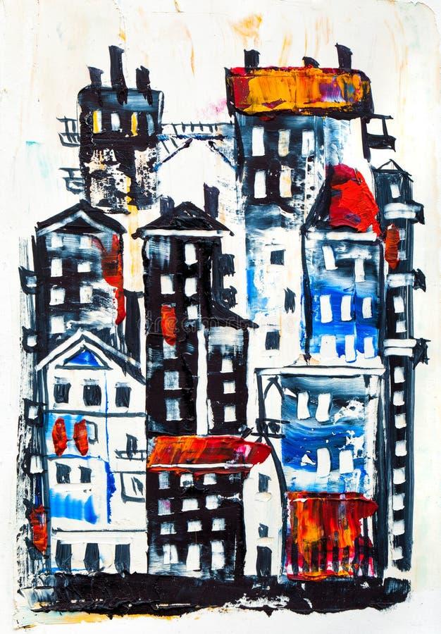 Αφηρημένη ζωγραφική των κτηρίων πόλεων απεικόνιση αποθεμάτων