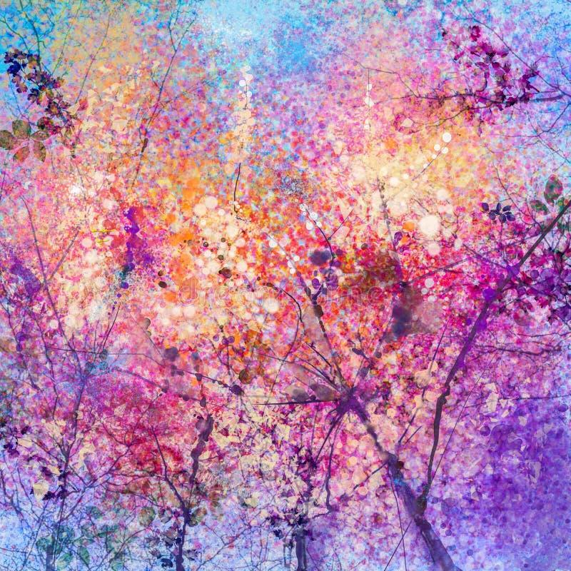 Αφηρημένη ζωγραφική watercolor λουλουδιών ανθών κερασιών ελεύθερη απεικόνιση δικαιώματος