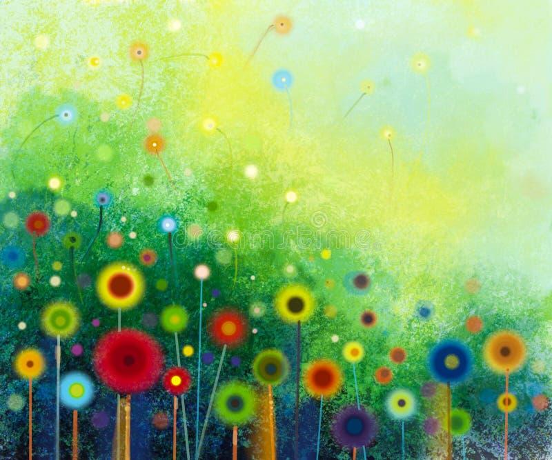 Αφηρημένη ζωγραφική watercolor λουλουδιών διανυσματική απεικόνιση