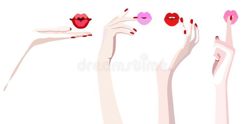 Αφηρημένη ζωγραφική watercolor των θηλυκών χεριών με τα χείλια του ελεύθερη απεικόνιση δικαιώματος