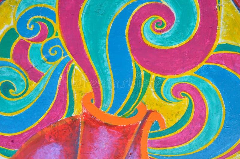 Αφηρημένη ζωηρόχρωμη εικόνα στον τοίχο στο Μεξικό. απεικόνιση αποθεμάτων