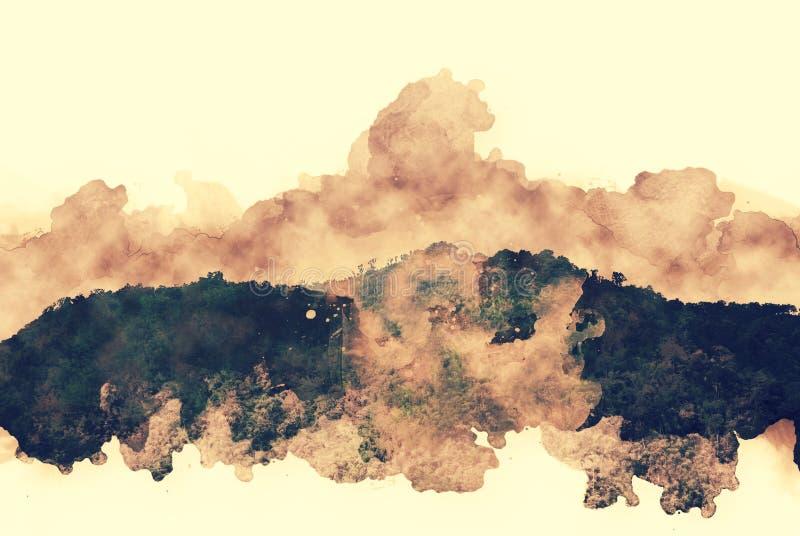 Αφηρημένη ζωηρόχρωμη σειρά βουνών στο υπόβαθρο ζωγραφικής watercolor διανυσματική απεικόνιση