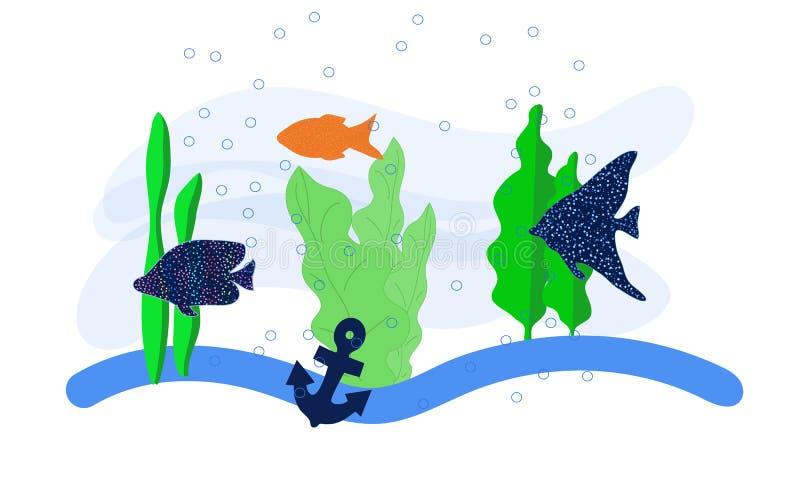 Αφηρημένη ζωηρόχρωμη φαντασία υποβρύχια Ημι αφηρημένη τέχνη απεικόνισης Εικόνα του φυκιού αγκύρων ψαριών στη θάλασσα Χέρι που χρω απεικόνιση αποθεμάτων
