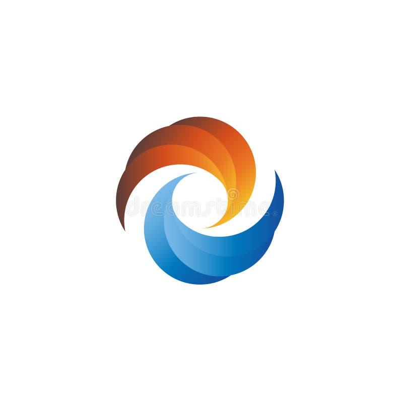Αφηρημένη ηλιοβασίλεμα ή ανατολή και νερό, λογότυπο τουρισμού προτύπων ελεύθερη απεικόνιση δικαιώματος
