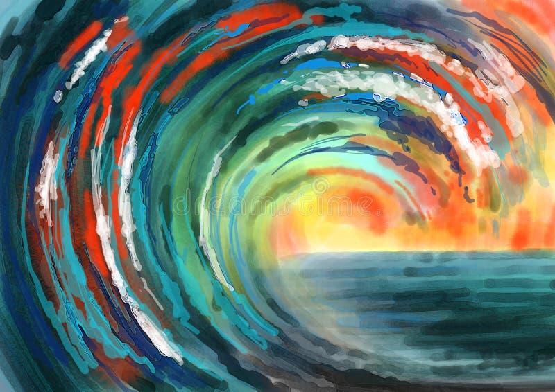 Αφηρημένη θάλασσας ζωγραφική υποβάθρου κυμάτων ζωηρόχρωμη ελεύθερη απεικόνιση δικαιώματος