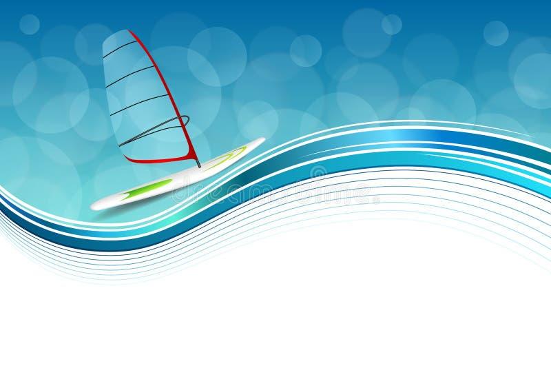 Αφηρημένη θάλασσας υποβάθρου αθλητικών διακοπών απεικόνιση πλαισίων σχεδίου κόκκινη πράσινη windsurfing μπλε διανυσματική απεικόνιση