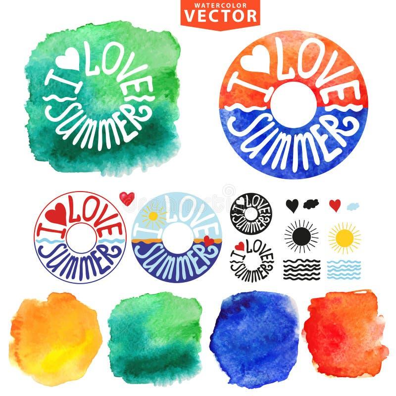 Αφηρημένη θερινή τυπογραφία wtercolor lifebuoy ελεύθερη απεικόνιση δικαιώματος