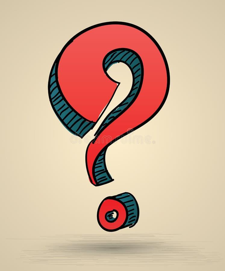 Αφηρημένη διανυσματική απεικόνιση σκίτσων ερωτηματικών διανυσματική απεικόνιση