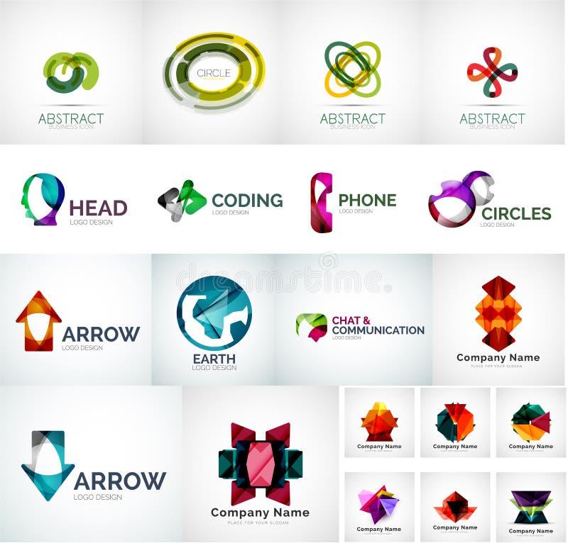 Αφηρημένη διανυσματική συλλογή λογότυπων επιχείρησης διανυσματική απεικόνιση
