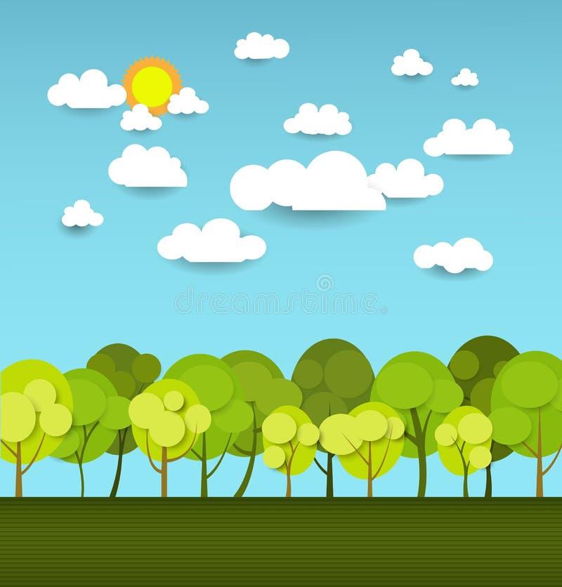 Αφηρημένη κάρτα άνοιξη εγγράφου με το σύννεφο και το δέντρο ηλιοφάνειας διανυσματική απεικόνιση