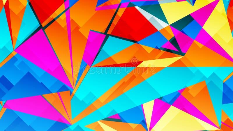Αφηρημένη κάρτα με τα ζωηρόχρωμα χαοτικά τρίγωνα, πολύγωνα Τριγωνική ακατάστατη γεωμετρική αφίσα απείρου διανυσματική απεικόνιση