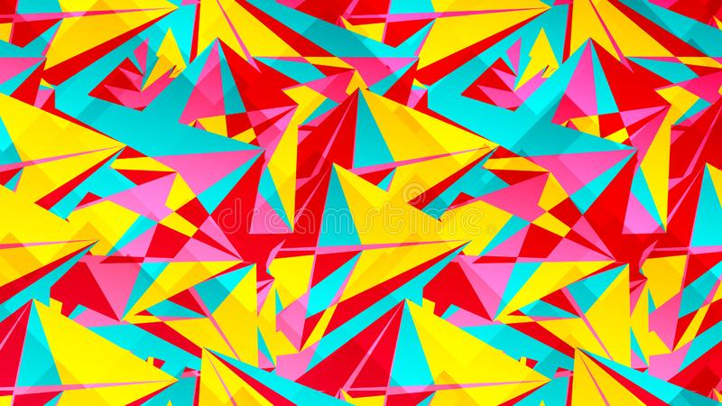 Αφηρημένη κάρτα με τα ζωηρόχρωμα χαοτικά τρίγωνα, πολύγωνα Τριγωνική ακατάστατη γεωμετρική αφίσα απείρου απεικόνιση αποθεμάτων