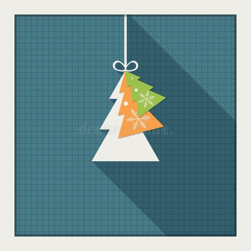 Αφηρημένη κάρτα με το ζωηρόχρωμο χριστουγεννιάτικο δέντρο διανυσματική απεικόνιση
