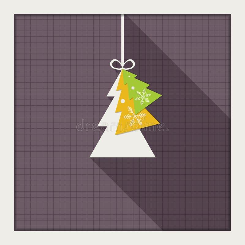 Αφηρημένη κάρτα με το ζωηρόχρωμο χριστουγεννιάτικο δέντρο ελεύθερη απεικόνιση δικαιώματος