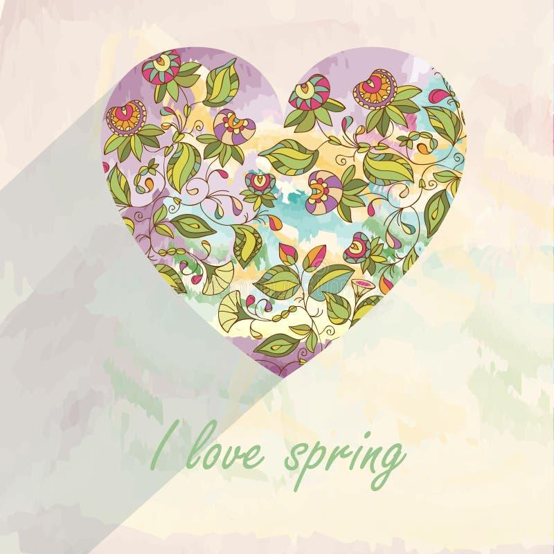 Αφηρημένη κάρτα πρόσκλησης με την καρδιά Σχέδιο λουλουδιών καρδιών προτύπων για την κάρτα Αφηρημένο floral υπόβαθρο, διάνυσμα ελεύθερη απεικόνιση δικαιώματος