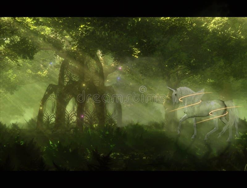 Αφηρημένη καλλιτεχνική τρισδιάστατη απεικόνιση ενός αλόγου και μια πύλη σε ένα μοναδικό έργο τέχνης κήπων ουρανού διανυσματική απεικόνιση