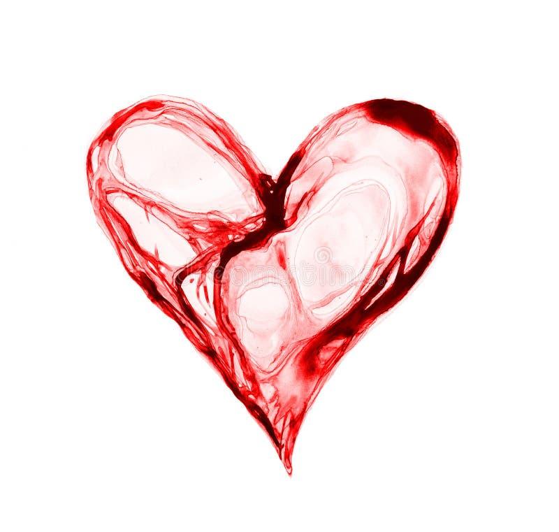 Αφηρημένη καρδιά φιαγμένη από σύμβολο έννοιας watercolour, αγάπης και υγείας στοκ φωτογραφία με δικαίωμα ελεύθερης χρήσης