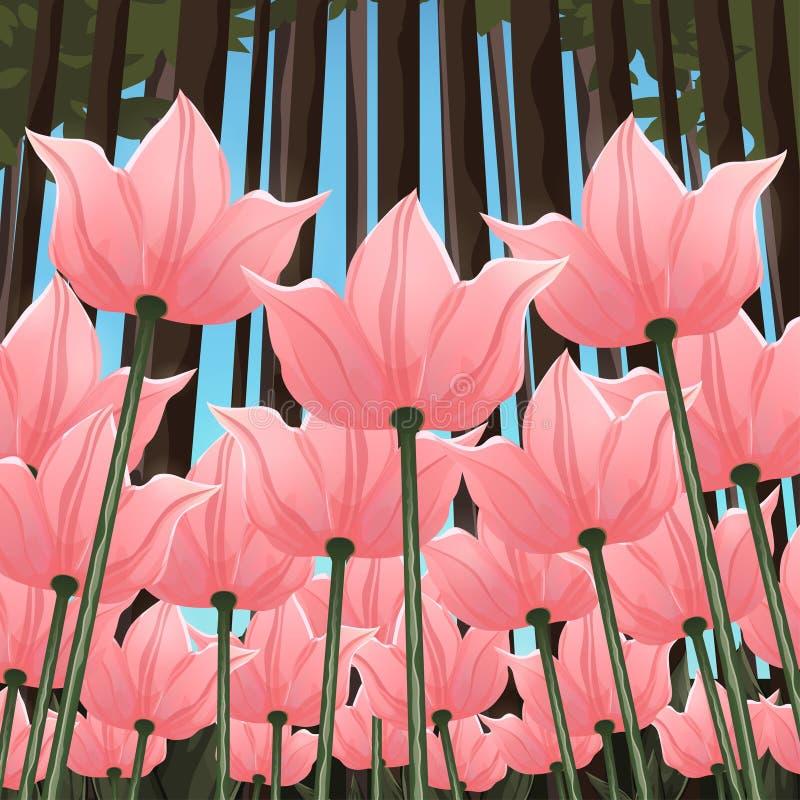 Αφηρημένη κατώτατη άποψη λουλουδιών, διανυσματική απεικόνιση, ζωηρόχρωμο σχέδιο Συρμένοι ρόδινοι οφθαλμοί, πέταλα και μίσχοι λουλ διανυσματική απεικόνιση