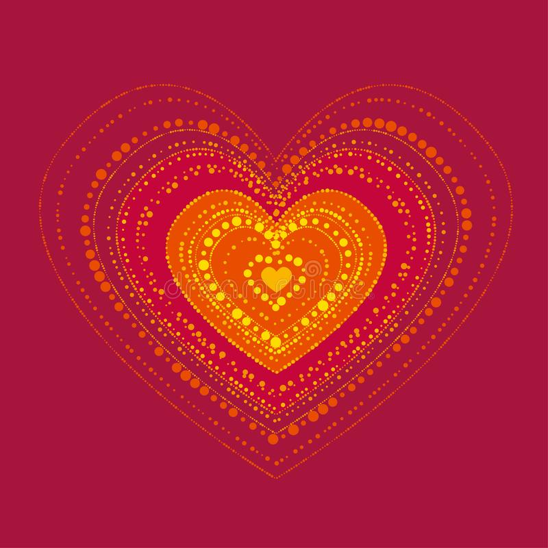 Αφηρημένη καυτή έννοια καρδιών στο ύφος boho ελεύθερη απεικόνιση δικαιώματος