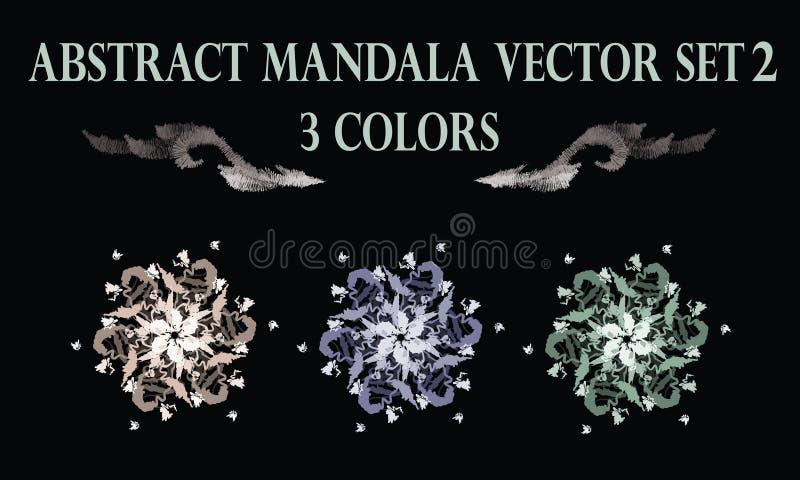 Αφηρημένη κρητιδογραφία λουλουδιών γύρω από τη διακόσμηση mandala ελεύθερη απεικόνιση δικαιώματος