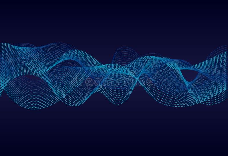 Αφηρημένη κυματιστή επιφάνεια γραμμών στο σκούρο μπλε υπόβαθρο Soundwave των γραμμών Σύγχρονος ψηφιακός εξισωτής συχνότητας στο α ελεύθερη απεικόνιση δικαιώματος