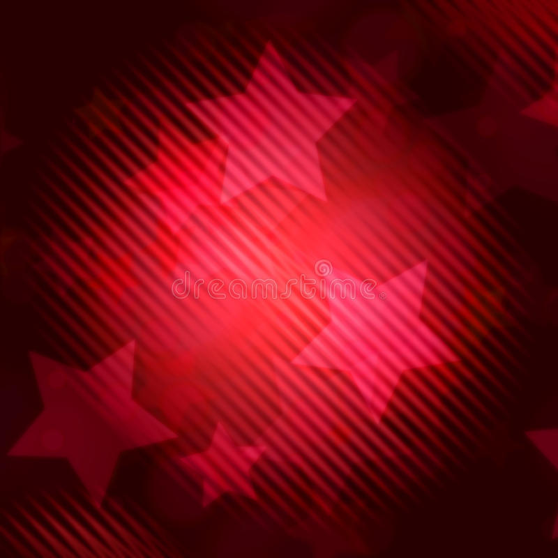 Αφηρημένη κόκκινη ανασκόπηση με τα ριγωτά αστέρια διανυσματική απεικόνιση