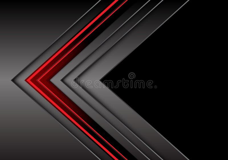Αφηρημένη κόκκινη ανοικτό γκρι μεταλλική κατεύθυνση βελών με τη μαύρη κενή διαστημική διανυσματική απεικόνιση υποβάθρου σχεδίου σ διανυσματική απεικόνιση