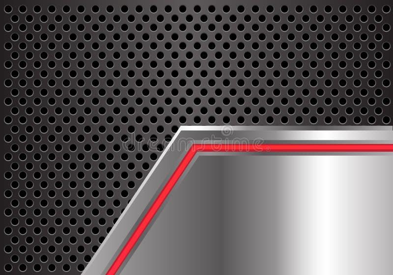 Αφηρημένη κόκκινη ελαφριά γραμμή βελών στο μεταλλικό πιάτο με το γκρίζο κύκλων πλέγματος διάνυσμα υποβάθρου σχεδίου σύγχρονο φουτ διανυσματική απεικόνιση