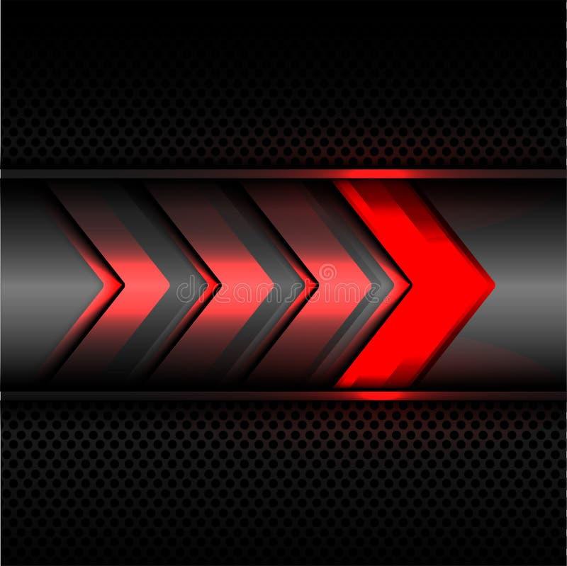 Αφηρημένη κόκκινη ελαφριά τεχνολογία δύναμης βελών στο σκούρο γκρι μετάλλων κύκλων πλέγματος διάνυσμα σύστασης υποβάθρου σχεδίου  διανυσματική απεικόνιση