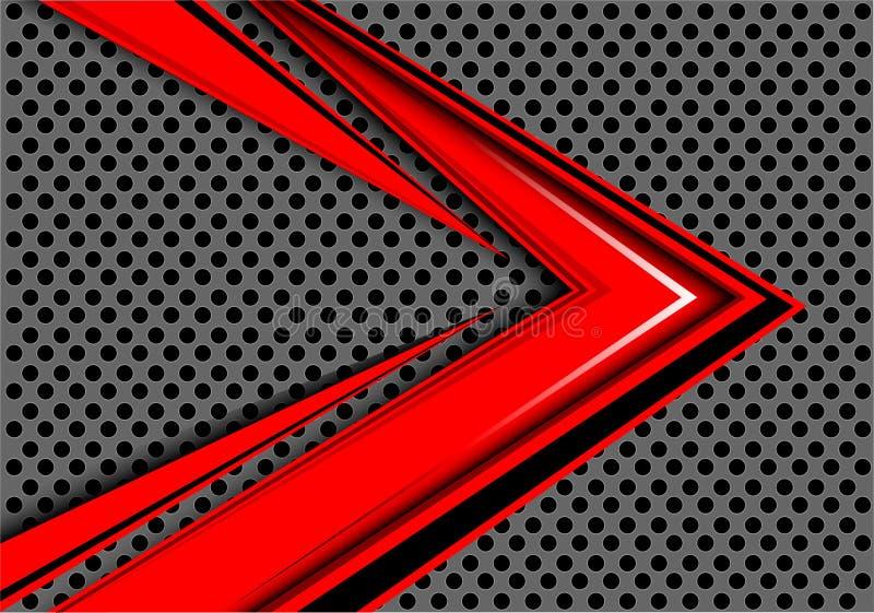 Αφηρημένη κόκκινη επικάλυψη ταχύτητας βελών στο γκρίζο κύκλων πλέγματος διάνυσμα υποβάθρου σχεδίου σύγχρονο φουτουριστικό απεικόνιση αποθεμάτων