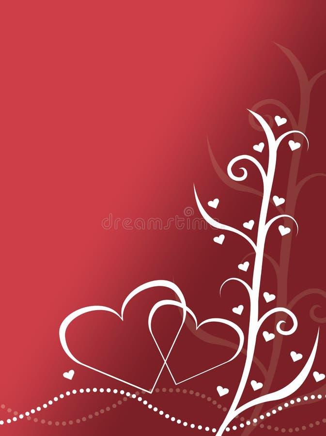 Αφηρημένη κόκκινη και άσπρη απεικόνιση υποβάθρου σχεδίου καρτών ημέρας βαλεντίνων με δύο καρδιές διανυσματική απεικόνιση