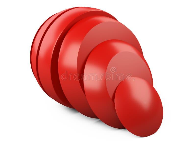 Αφηρημένη κόκκινη φέτα σφαιρών στα κομμάτια και τη μετατόπιση Σφαίρα χάλυβα περικοπών ελεύθερη απεικόνιση δικαιώματος