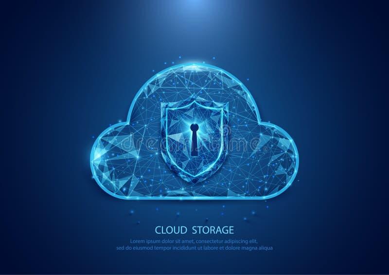 Αφηρημένη μορφή ασφάλειας τεχνολογίας σύννεφων ενός έναστρου ουρανού Διαδίκτυο διανυσματική απεικόνιση