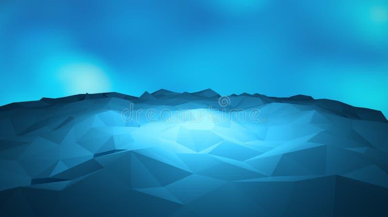 Αφηρημένη μορφή βουνών πάγου τριγώνων γεωμετρική, μπλε στο μπλε διανυσματική απεικόνιση