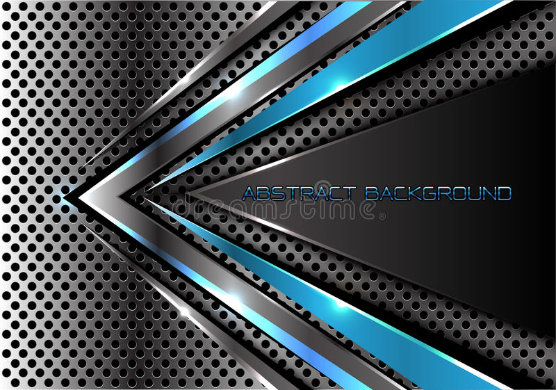 Αφηρημένη μπλε γκρίζα ταχύτητα βελών στο σύγχρονο φουτουριστικό cretive διάνυσμα σύστασης υποβάθρου σχεδίου πλέγματος κύκλων μετά απεικόνιση αποθεμάτων
